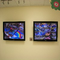 photo of two video monitors